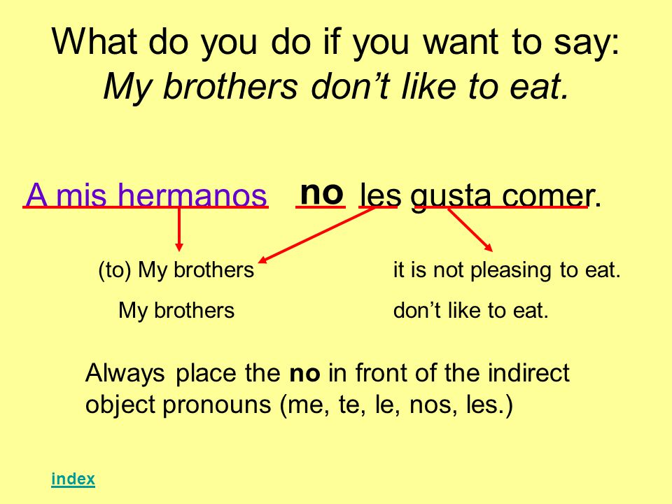 What do you do if you want to say: My brothers dont like to eat.