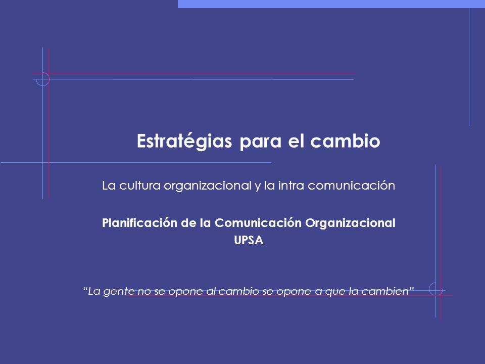 Estratégias para el cambio La cultura organizacional y la intra comunicación Planificación de la Comunicación Organizacional UPSA La gente no se opone al cambio se opone a que la cambien