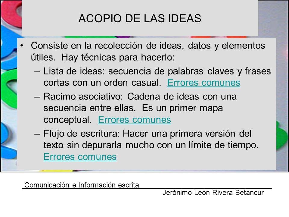 ACOPIO DE LAS IDEAS Consiste en la recolección de ideas, datos y elementos útiles.