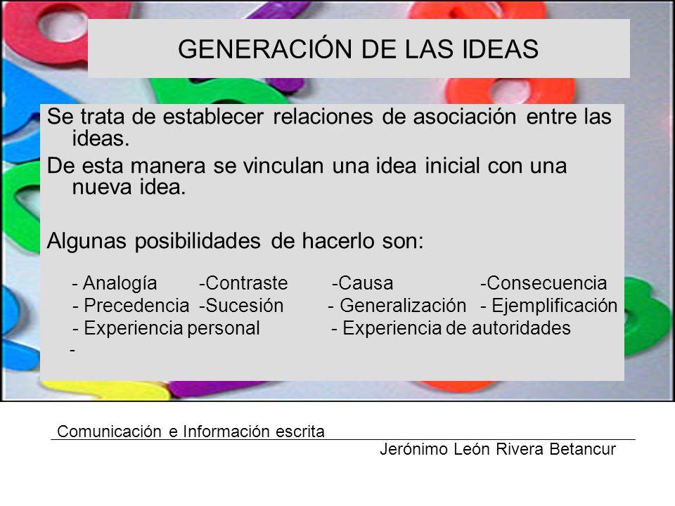 GENERACIÓN DE LAS IDEAS Se trata de establecer relaciones de asociación entre las ideas.