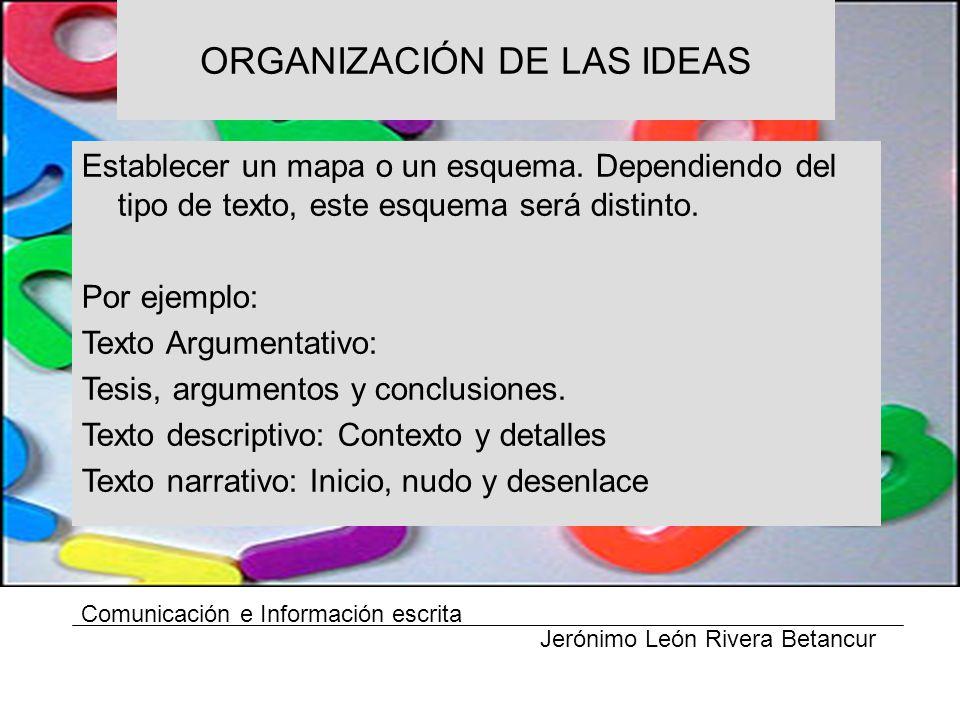 ORGANIZACIÓN DE LAS IDEAS Comunicación e Información escrita Jerónimo León Rivera Betancur Establecer un mapa o un esquema.