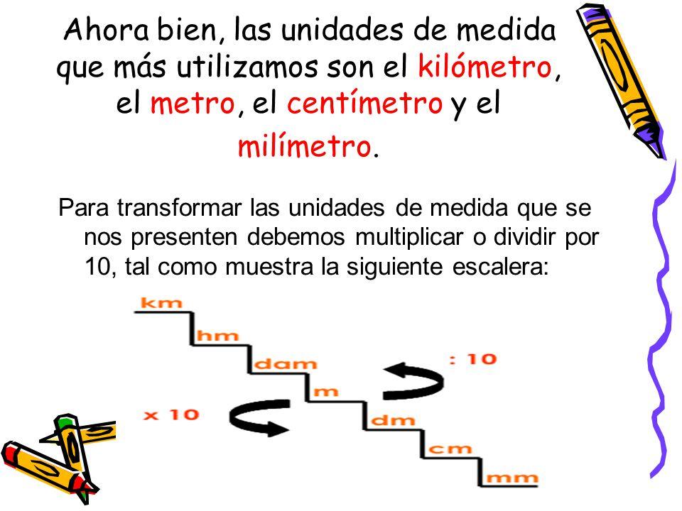 Ahora bien, las unidades de medida que más utilizamos son el kilómetro, el metro, el centímetro y el milímetro. Para transformar las unidades de medid