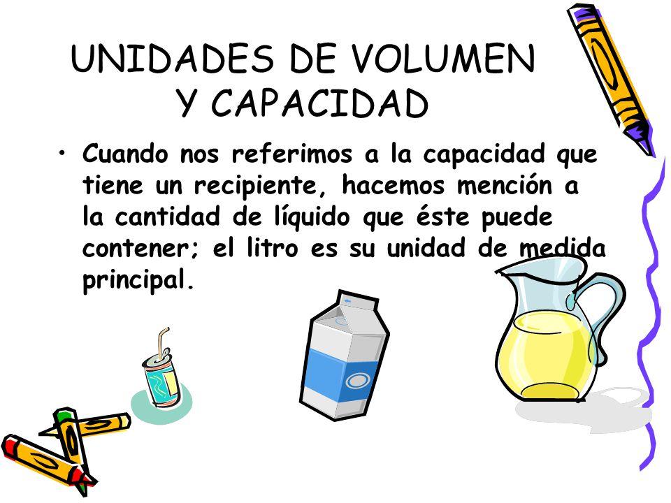 UNIDADES DE VOLUMEN Y CAPACIDAD Cuando nos referimos a la capacidad que tiene un recipiente, hacemos mención a la cantidad de líquido que éste puede contener; el litro es su unidad de medida principal.