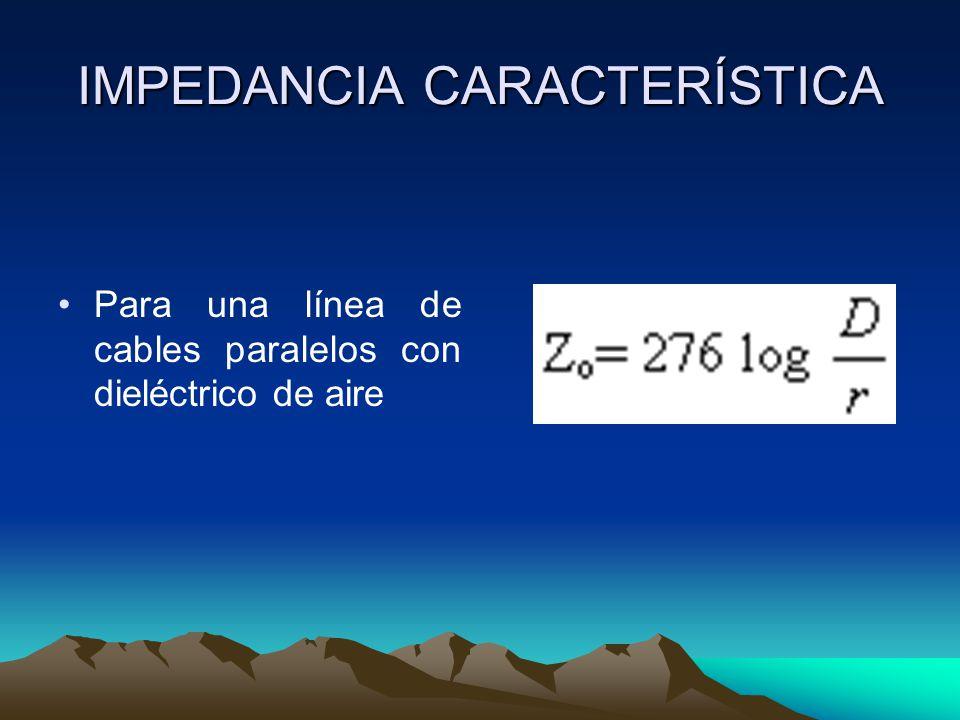 IMPEDANCIA CARACTERÍSTICA Para una línea de cables paralelos con dieléctrico de aire
