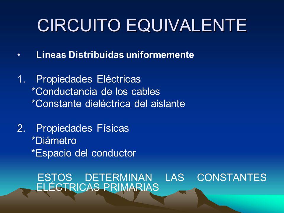 CIRCUITO EQUIVALENTE Líneas Distribuidas uniformemente 1.Propiedades Eléctricas *Conductancia de los cables *Constante dieléctrica del aislante 2. Pro