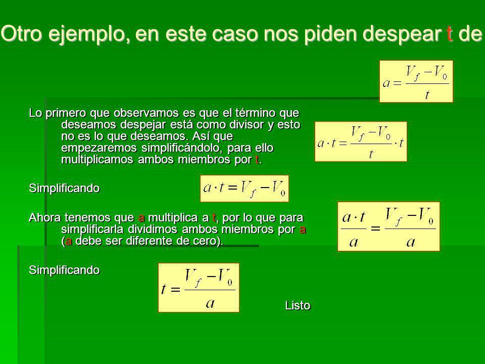 Otro ejemplo, en este caso nos piden despear t de la fórmula anterior: Otro ejemplo, en este caso nos piden despear t de la fórmula anterior: Lo prime