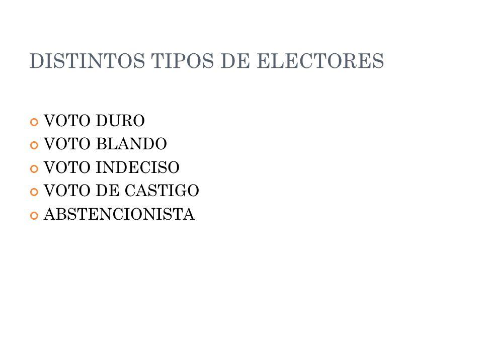 DISTINTOS TIPOS DE ELECTORES VOTO DURO VOTO BLANDO VOTO INDECISO VOTO DE CASTIGO ABSTENCIONISTA