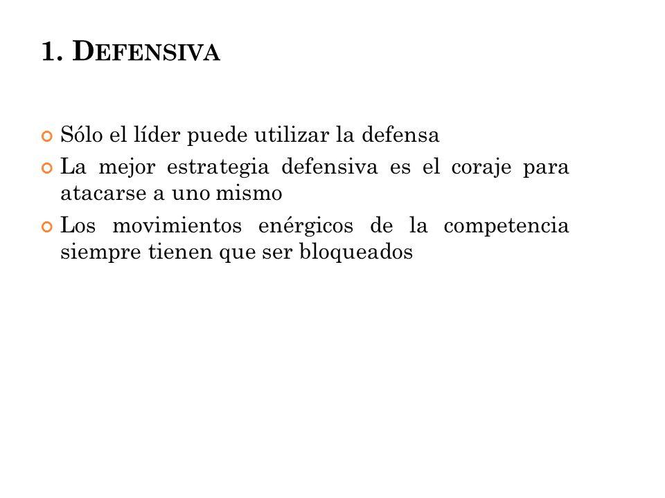 1. D EFENSIVA Sólo el líder puede utilizar la defensa La mejor estrategia defensiva es el coraje para atacarse a uno mismo Los movimientos enérgicos d
