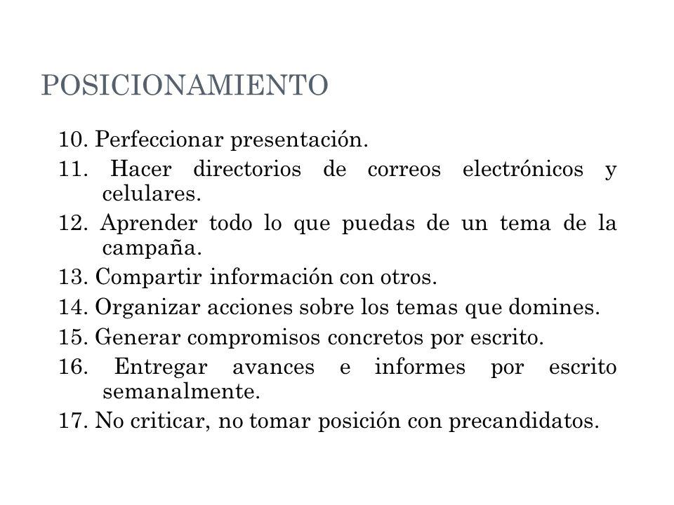 POSICIONAMIENTO 10.Perfeccionar presentación. 11.