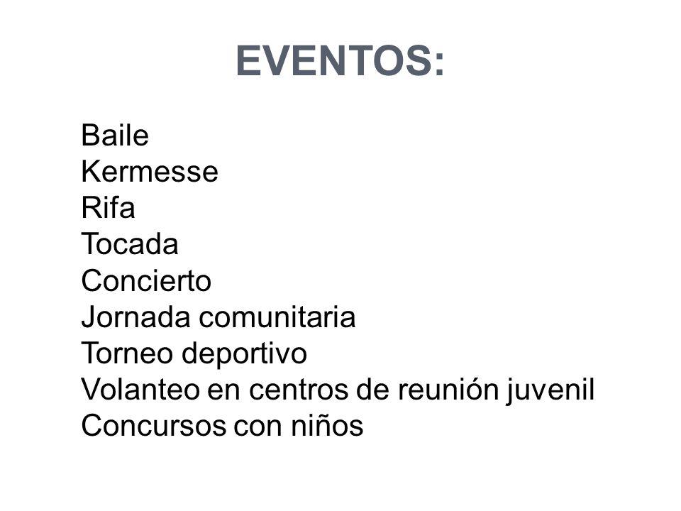 Baile Kermesse Rifa Tocada Concierto Jornada comunitaria Torneo deportivo Volanteo en centros de reunión juvenil Concursos con niños EVENTOS:
