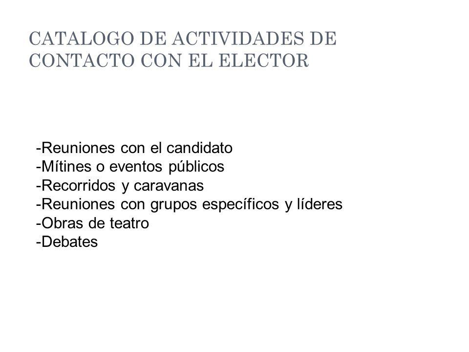CATALOGO DE ACTIVIDADES DE CONTACTO CON EL ELECTOR -Reuniones con el candidato -Mítines o eventos públicos -Recorridos y caravanas -Reuniones con grupos específicos y líderes -Obras de teatro -Debates