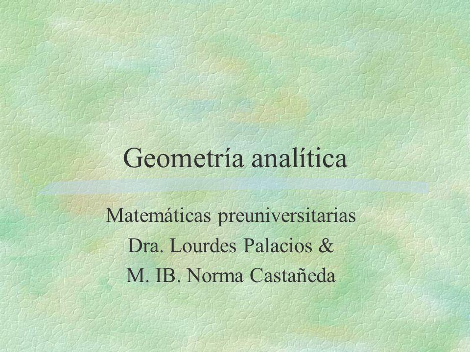 Geometría analítica Matemáticas preuniversitarias Dra. Lourdes Palacios & M. IB. Norma Castañeda