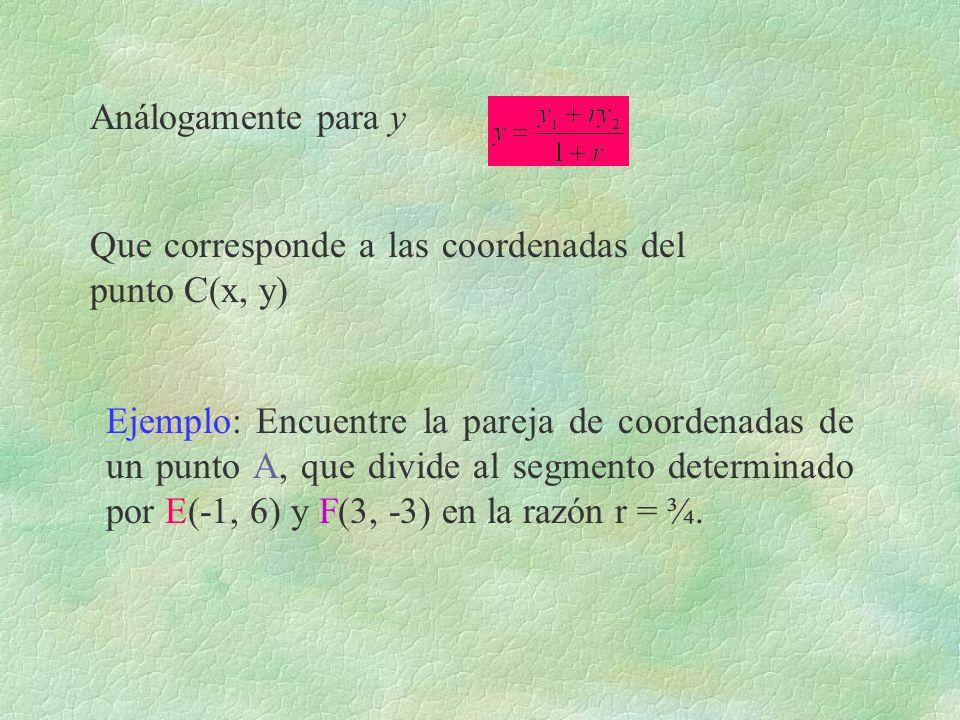 Análogamente para y Que corresponde a las coordenadas del punto C(x, y) Ejemplo: Encuentre la pareja de coordenadas de un punto A, que divide al segme