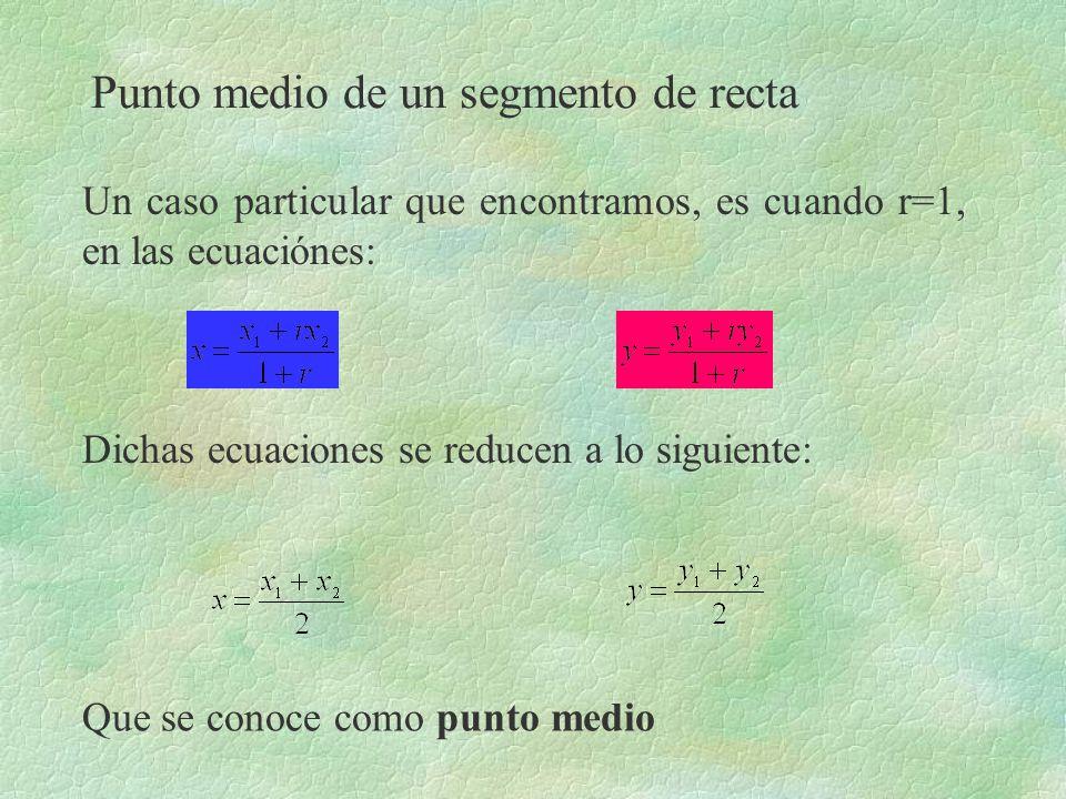 Punto medio de un segmento de recta Un caso particular que encontramos, es cuando r=1, en las ecuaciónes: Que se conoce como punto medio Dichas ecuaci