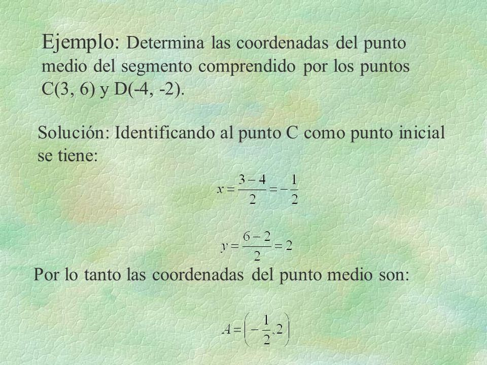 Ejemplo: Determina las coordenadas del punto medio del segmento comprendido por los puntos C(3, 6) y D(-4, -2). Solución: Identificando al punto C com