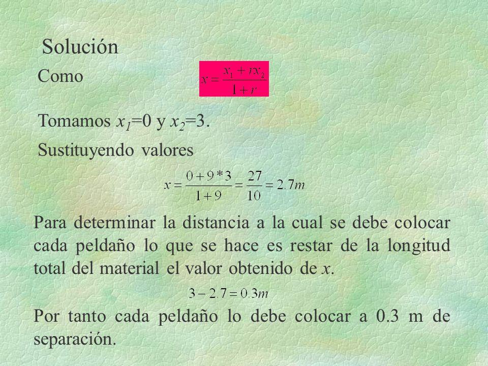 Solución Tomamos x 1 =0 y x 2 =3. Sustituyendo valores Como Para determinar la distancia a la cual se debe colocar cada peldaño lo que se hace es rest