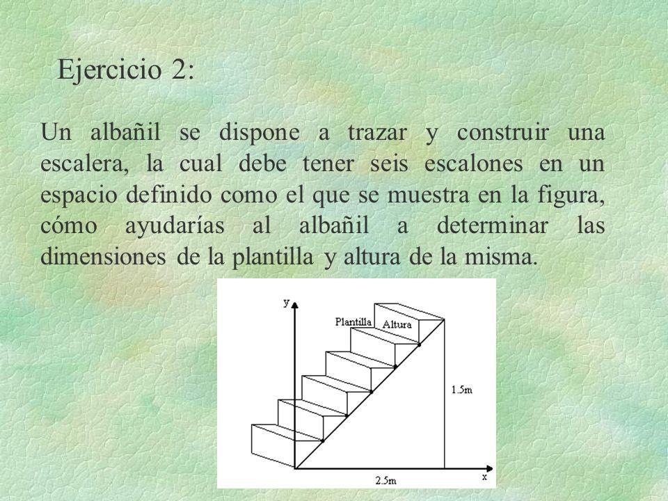 Ejercicio 2: Un albañil se dispone a trazar y construir una escalera, la cual debe tener seis escalones en un espacio definido como el que se muestra