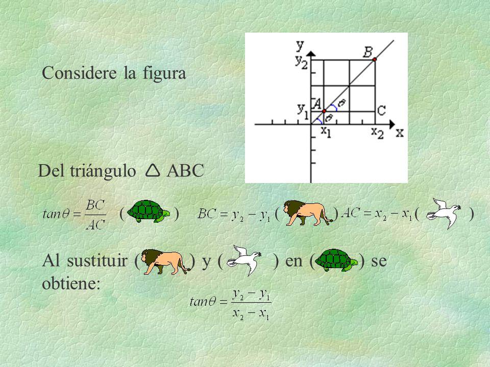 Considere la figura Del triángulo ABC Al sustituir ( ) y ( ) en ( ) se obtiene: ( )