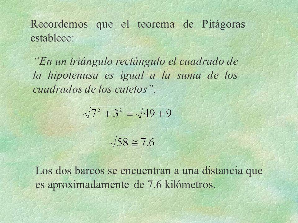 Recordemos que el teorema de Pitágoras establece: En un triángulo rectángulo el cuadrado de la hipotenusa es igual a la suma de los cuadrados de los c