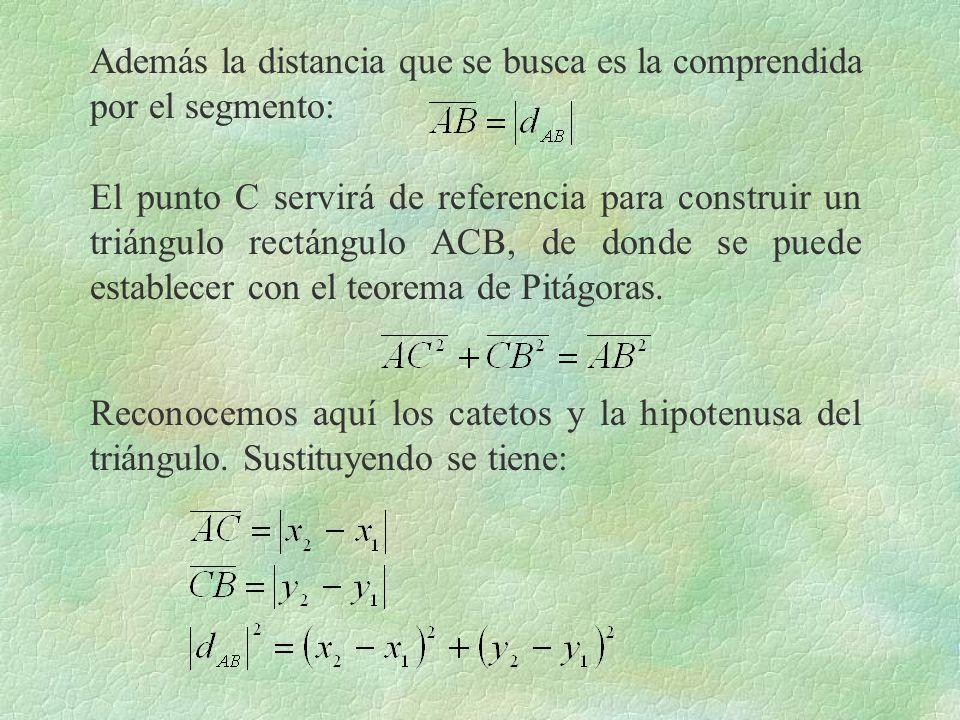 Además la distancia que se busca es la comprendida por el segmento: El punto C servirá de referencia para construir un triángulo rectángulo ACB, de do