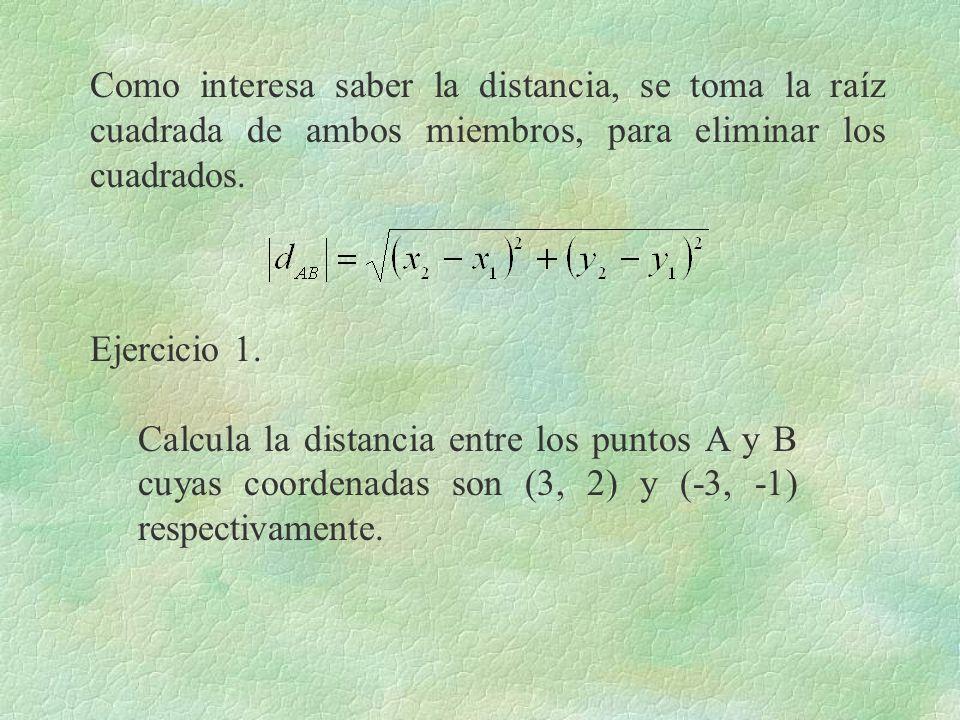 Como interesa saber la distancia, se toma la raíz cuadrada de ambos miembros, para eliminar los cuadrados. Ejercicio 1. Calcula la distancia entre los