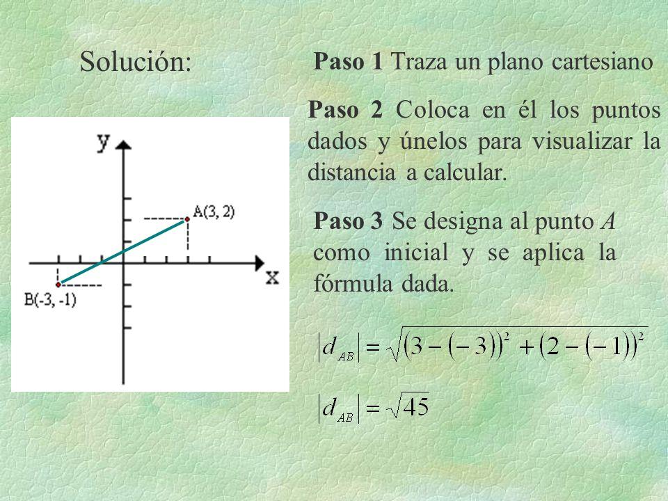 Solución: Paso 1 Traza un plano cartesiano Paso 2 Coloca en él los puntos dados y únelos para visualizar la distancia a calcular. Paso 3 Se designa al