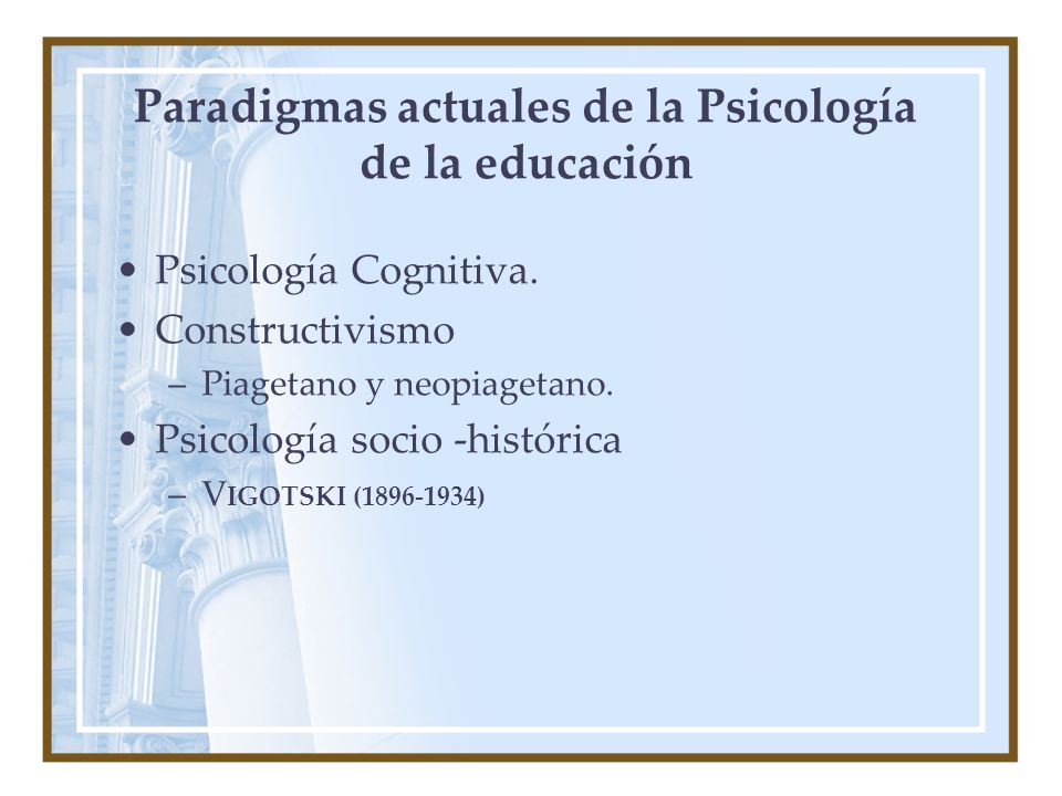Paradigmas actuales de la Psicología de la educación Psicología Cognitiva.