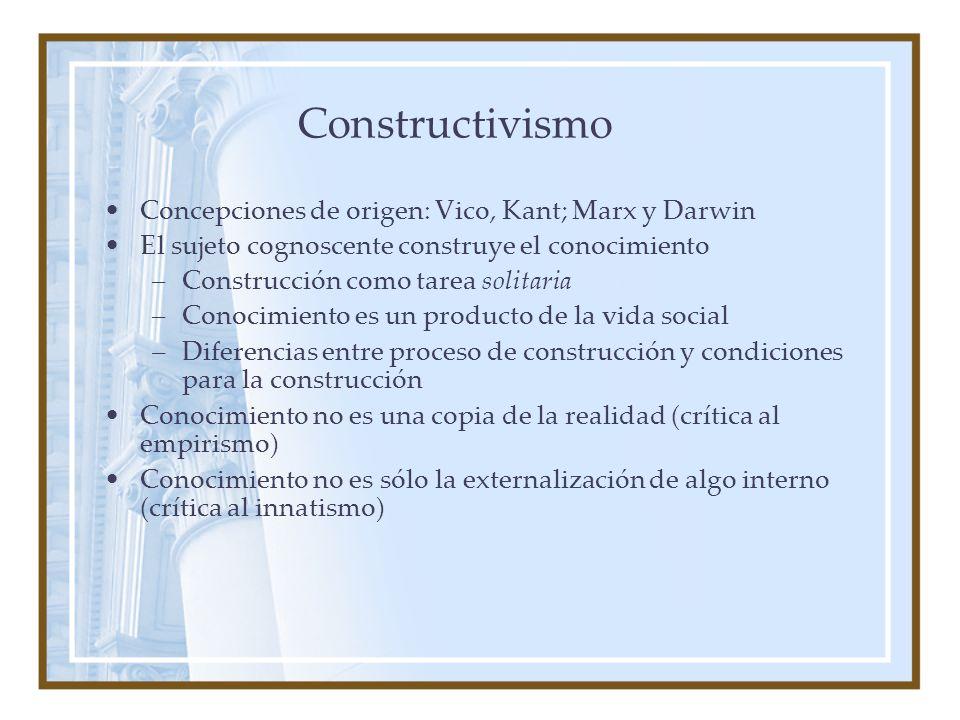 Constructivismo Concepciones de origen: Vico, Kant; Marx y Darwin El sujeto cognoscente construye el conocimiento –Construcción como tarea solitaria –Conocimiento es un producto de la vida social –Diferencias entre proceso de construcción y condiciones para la construcción Conocimiento no es una copia de la realidad (crítica al empirismo) Conocimiento no es sólo la externalización de algo interno (crítica al innatismo)
