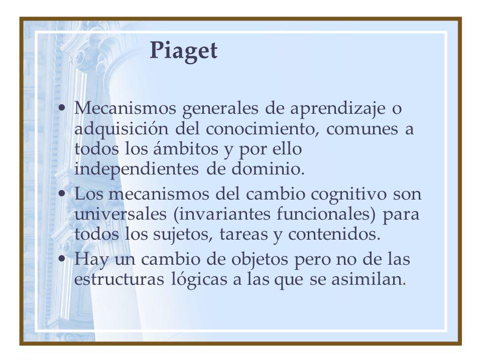 Piaget Mecanismos generales de aprendizaje o adquisición del conocimiento, comunes a todos los ámbitos y por ello independientes de dominio.