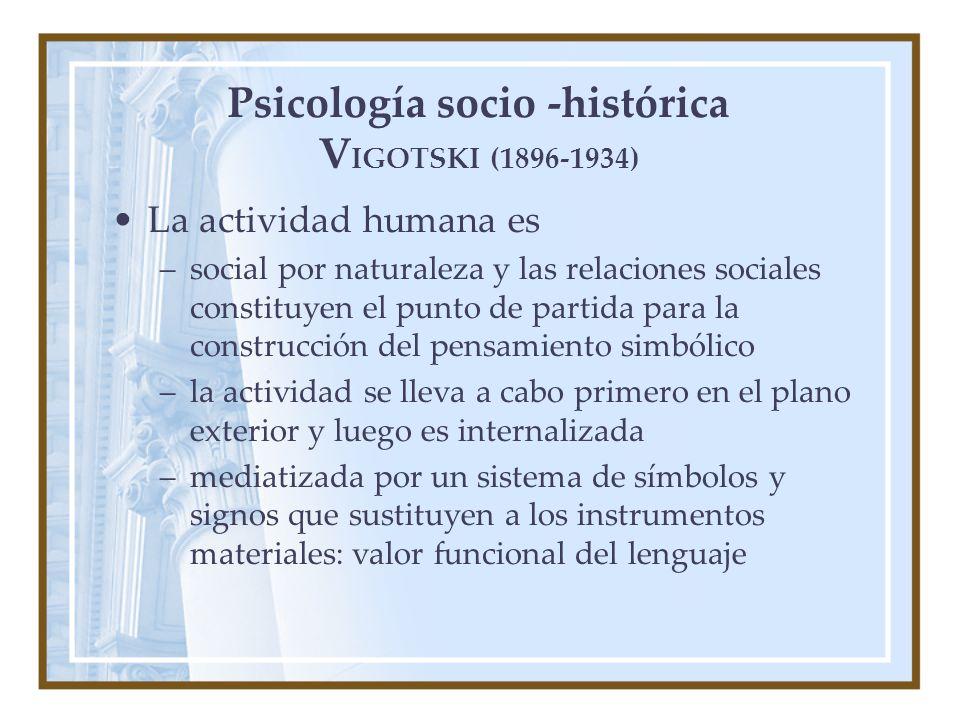 Psicología socio -histórica V IGOTSKI (1896-1934) La actividad humana es –social por naturaleza y las relaciones sociales constituyen el punto de partida para la construcción del pensamiento simbólico –la actividad se lleva a cabo primero en el plano exterior y luego es internalizada –mediatizada por un sistema de símbolos y signos que sustituyen a los instrumentos materiales: valor funcional del lenguaje