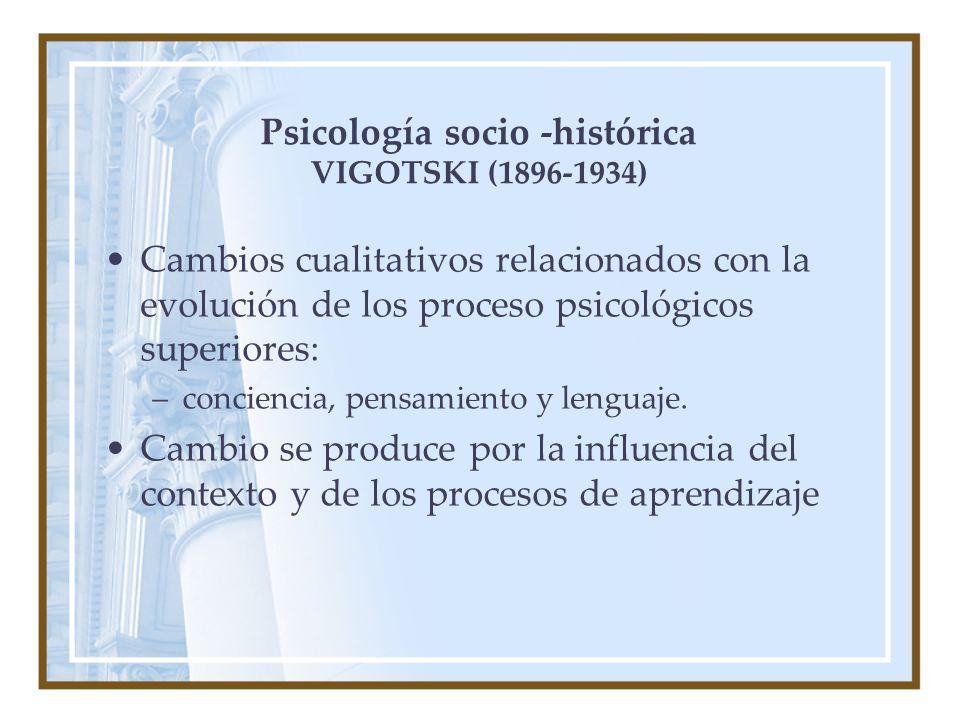 Psicología socio -histórica VIGOTSKI (1896-1934) Cambios cualitativos relacionados con la evolución de los proceso psicológicos superiores: –conciencia, pensamiento y lenguaje.