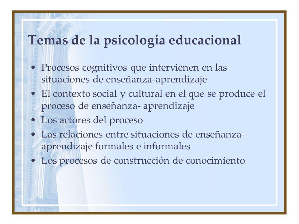 Temas de la psicología educacional Procesos cognitivos que intervienen en las situaciones de enseñanza-aprendizaje El contexto social y cultural en el que se produce el proceso de enseñanza- aprendizaje Los actores del proceso Las relaciones entre situaciones de enseñanza- aprendizaje formales e informales Los procesos de construcción de conocimiento