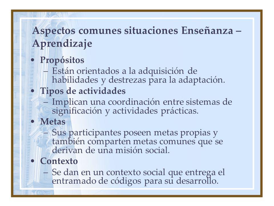 Aspectos comunes situaciones Enseñanza – Aprendizaje Propósitos –Están orientados a la adquisición de habilidades y destrezas para la adaptación.