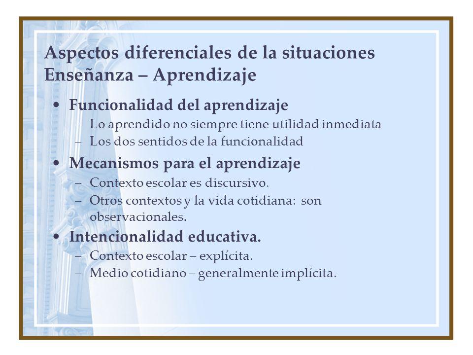 Aspectos diferenciales de la situaciones Enseñanza – Aprendizaje Funcionalidad del aprendizaje –Lo aprendido no siempre tiene utilidad inmediata –Los dos sentidos de la funcionalidad Mecanismos para el aprendizaje –Contexto escolar es discursivo.