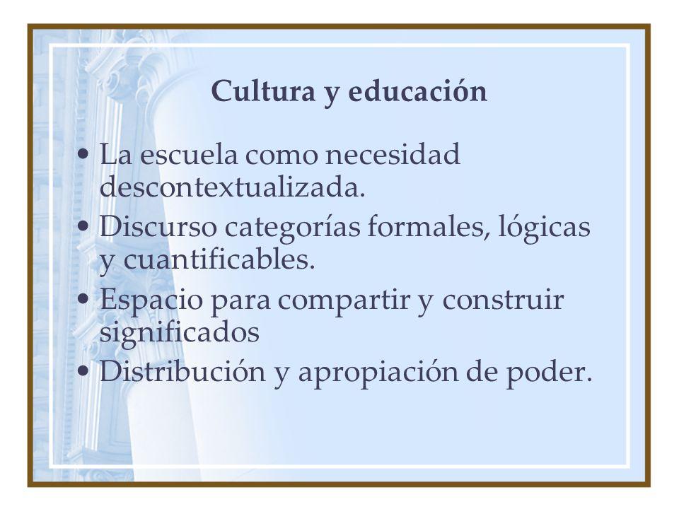 Cultura y educación La escuela como necesidad descontextualizada.
