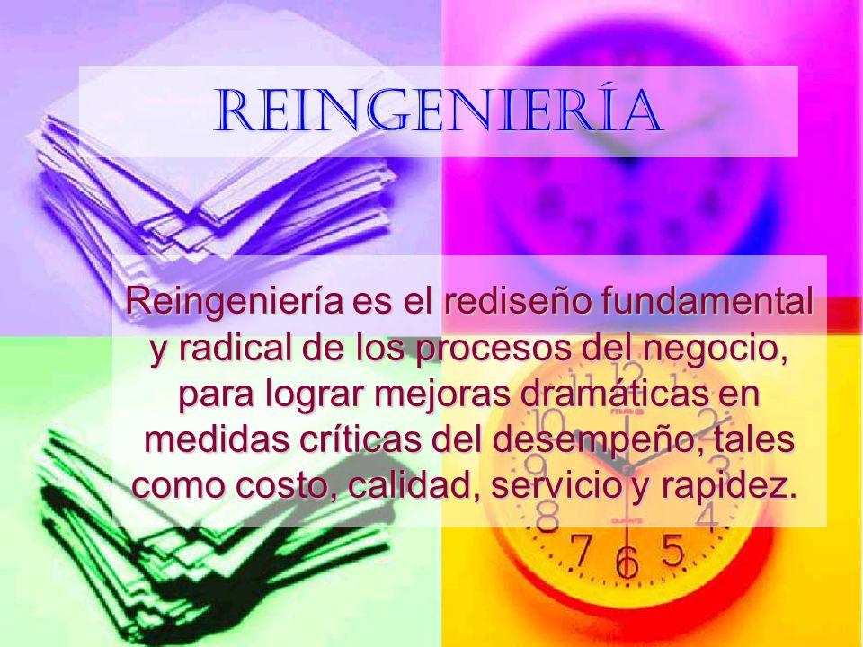 Reingeniería Reingeniería es el rediseño fundamental y radical de los procesos del negocio, para lograr mejoras dramáticas en medidas críticas del des