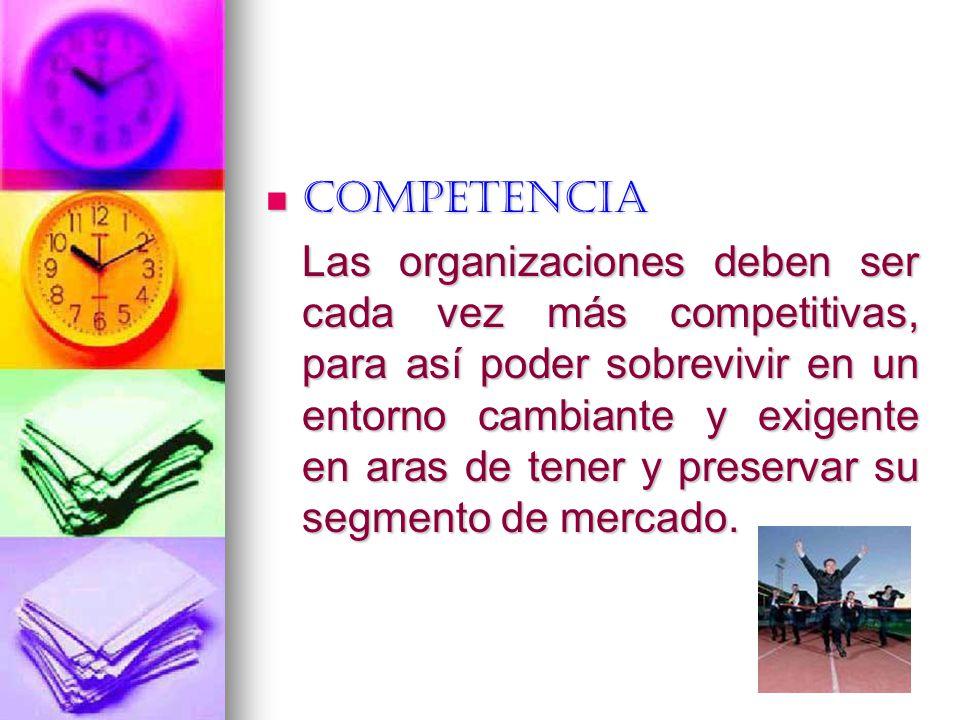 Competencia Competencia Las organizaciones deben ser cada vez más competitivas, para así poder sobrevivir en un entorno cambiante y exigente en aras d