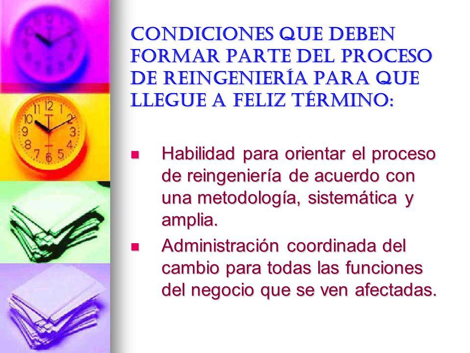 Condiciones que deben formar parte del proceso de reingeniería para que llegue a feliz término: Habilidad para orientar el proceso de reingeniería de