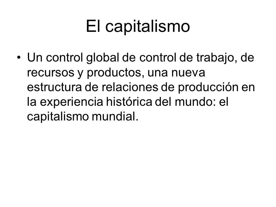El capitalismo Un control global de control de trabajo, de recursos y productos, una nueva estructura de relaciones de producción en la experiencia hi