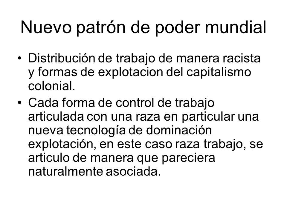 Nuevo patrón de poder mundial Distribución de trabajo de manera racista y formas de explotacion del capitalismo colonial. Cada forma de control de tra