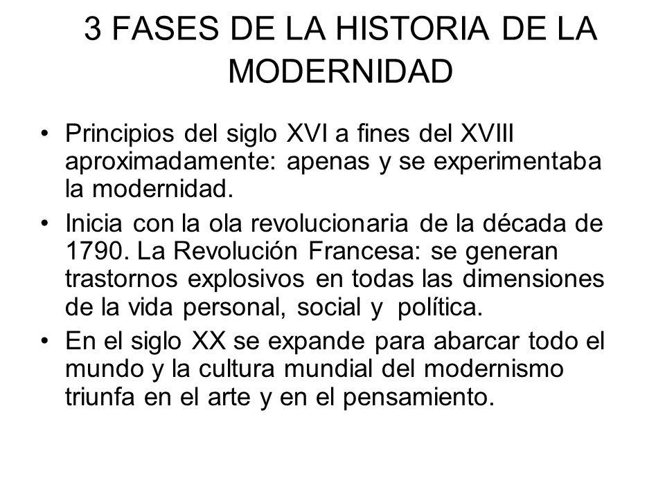 3 FASES DE LA HISTORIA DE LA MODERNIDAD Principios del siglo XVI a fines del XVIII aproximadamente: apenas y se experimentaba la modernidad. Inicia co