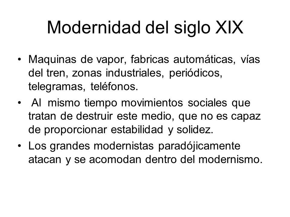 Modernidad del siglo XIX Maquinas de vapor, fabricas automáticas, vías del tren, zonas industriales, periódicos, telegramas, teléfonos. Al mismo tiemp