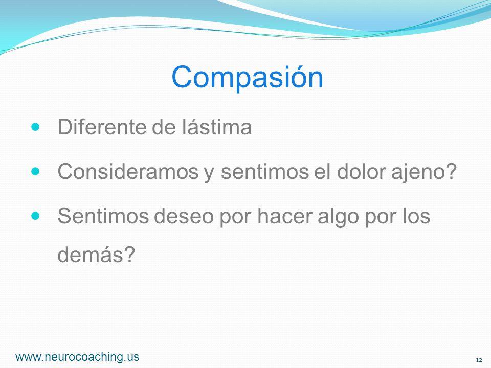 Compasión Diferente de lástima Consideramos y sentimos el dolor ajeno? Sentimos deseo por hacer algo por los demás? www.neurocoaching.us 12