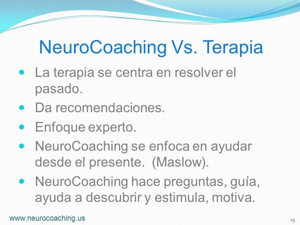 NeuroCoaching Vs. Terapia La terapia se centra en resolver el pasado. Da recomendaciones. Enfoque experto. NeuroCoaching se enfoca en ayudar desde el