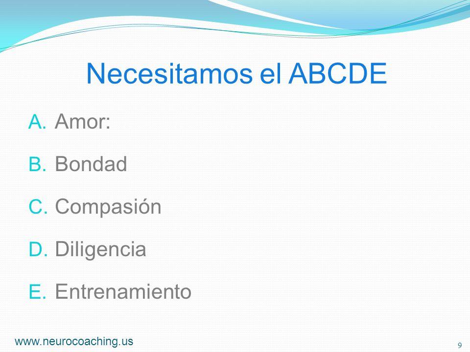 Necesitamos el ABCDE A. Amor: B. Bondad C. Compasión D. Diligencia E. Entrenamiento www.neurocoaching.us 9