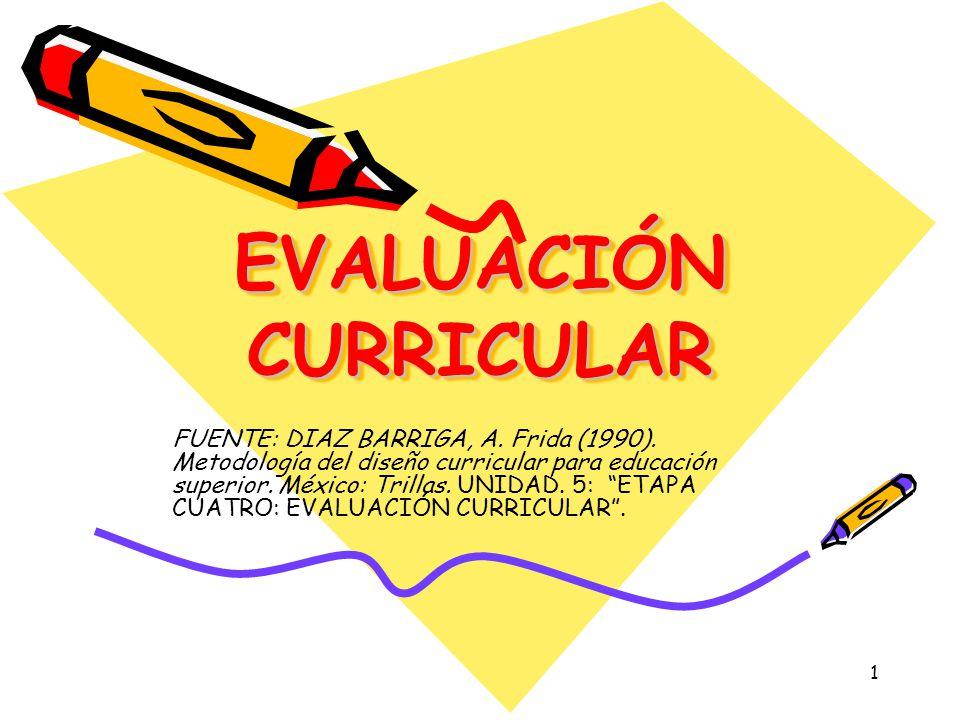1 EVALUACIÓN CURRICULAR FUENTE: DIAZ BARRIGA, A. Frida (1990). Metodología del diseño curricular para educación superior. México: Trillas. UNIDAD. 5: