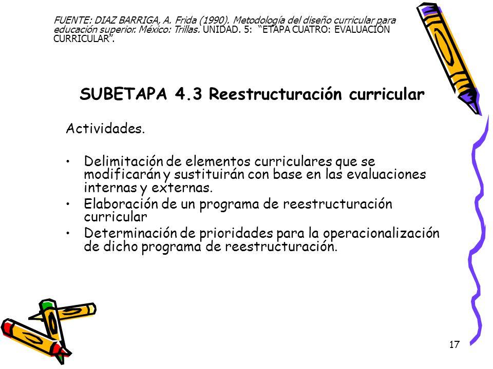 17 SUBETAPA 4.3 Reestructuración curricular Actividades. Delimitación de elementos curriculares que se modificarán y sustituirán con base en las evalu