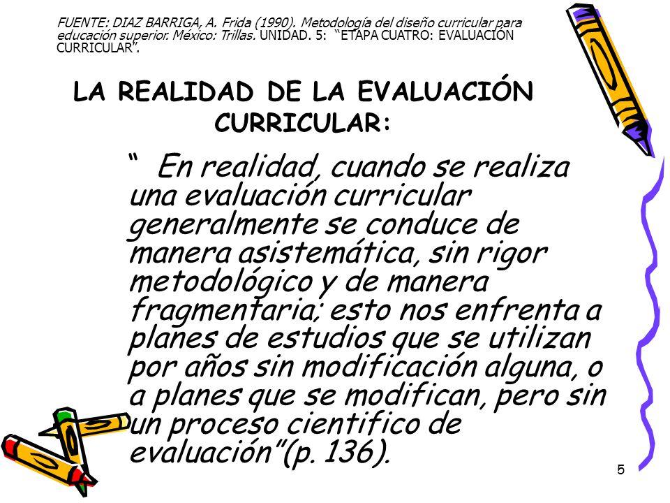 5 LA REALIDAD DE LA EVALUACIÓN CURRICULAR: En realidad, cuando se realiza una evaluación curricular generalmente se conduce de manera asistemática, si