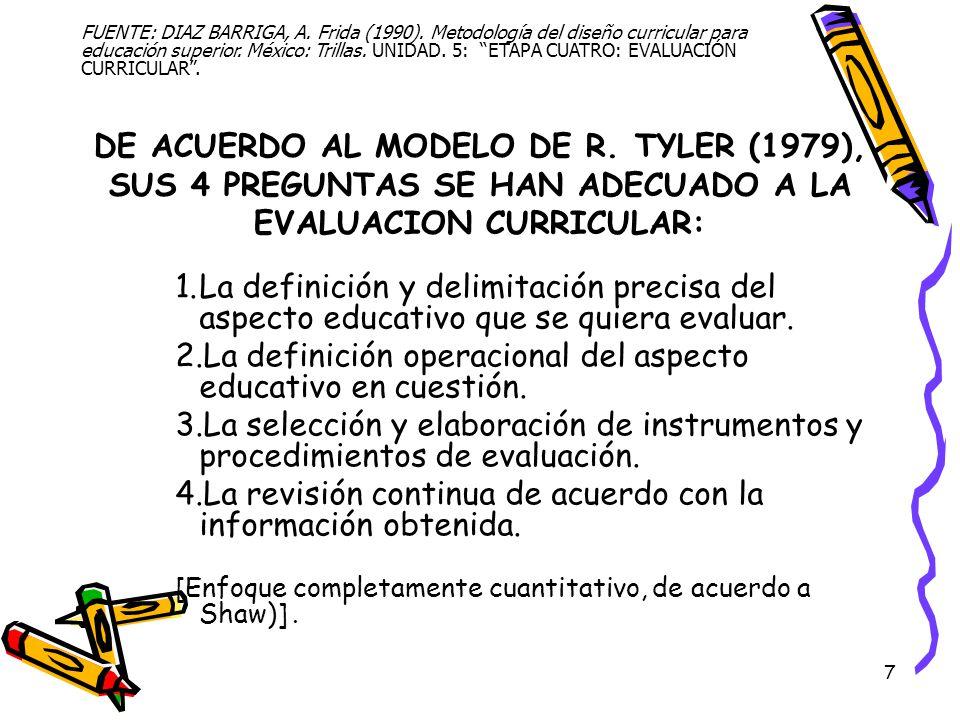 7 DE ACUERDO AL MODELO DE R. TYLER (1979), SUS 4 PREGUNTAS SE HAN ADECUADO A LA EVALUACION CURRICULAR: 1.La definición y delimitación precisa del aspe