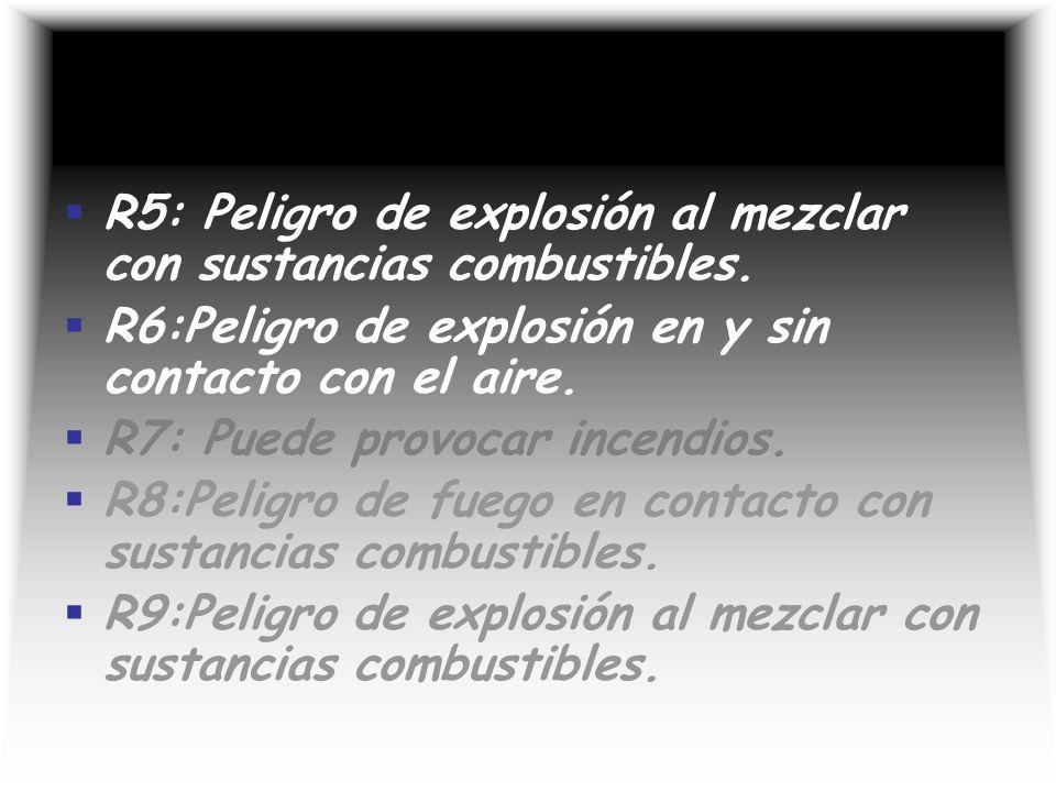R5: Peligro de explosión al mezclar con sustancias combustibles.